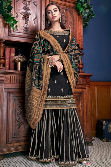 Gorgeous Black Embroidered And Lace Work Banglori Silk Plazzo Suit With Jacquard Dupatta