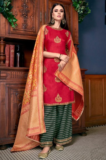 Graceful Red Embroidered And Lace Work Silk Plazzo Suit With Jacquard Dupatta