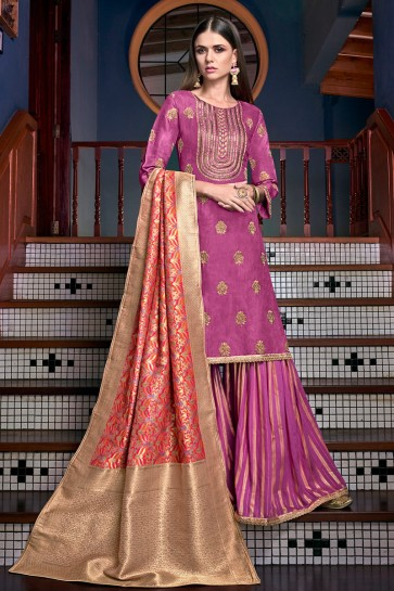 Pleasing Wine Satin Embroidered And Lace Work Plazzo Suit With Jacquard Dupatta