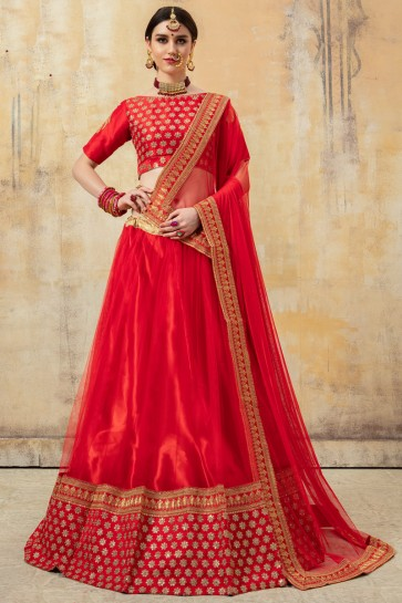 Embroidery And Beads Work Designer Red Net Fabric Lehenga Choli And Dupatta