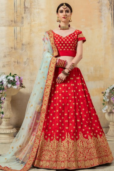 Sequins Work And Lace Work Red Silk Fabric Lehenga Choli With Net Dupatta