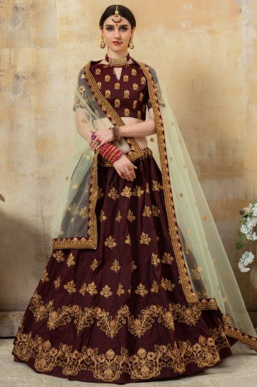 Lace Work And Embroidered Coffee Silk Fabric Lehenga Choli With Net Dupatta