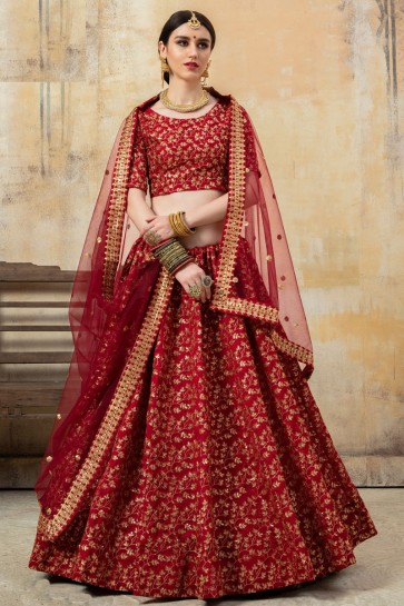 Excellent Art Silk Fabric Maroon Beads Work And Lace Work Lehenga Choli And Dupatta
