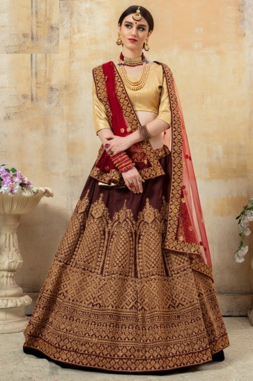 Fancy Fabric Coffee Sequins Work And Embroidered Designer Lehenga Choli With Net Dupatta
