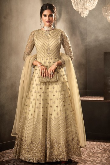 Beads Work And Lace Work Beige Net Fabric Abaya Style Anarkali Suit And Dupatta