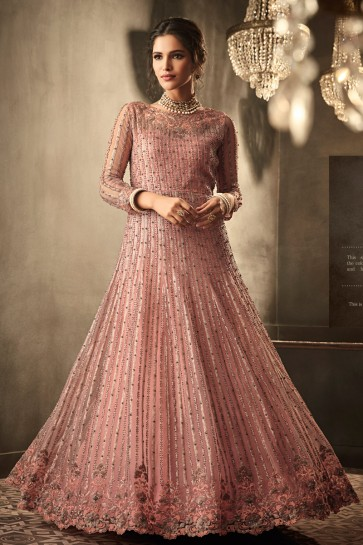 Net Fabric Wine Lace Work And Embroidered Designer Abaya Style Anarkali Suit And Santoon Bottom