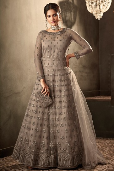 Heavy Designer Grey Embroidered And Lace Work Net Abaya Style Anarkali Suit And Dupatta