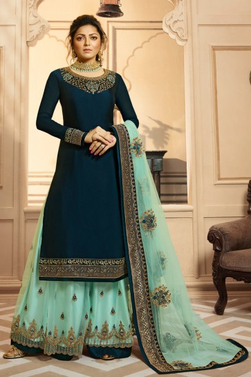 Drashti Dhami Navy Blue Georgette Satin Embroidered And Lace Work Plazzo Suit With Net Dupatta