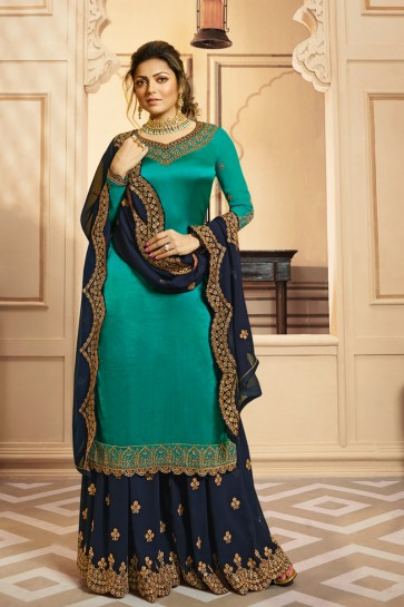 Drashti Dhami Georgette Satin Fabric Lace Work And Embroidered Turquoise Plazzo Suit And Dupatta