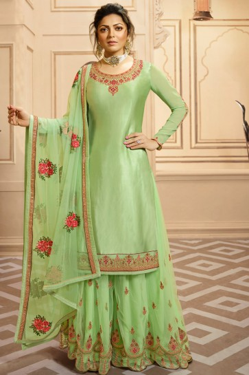 Drashti Dhami Parrot Green Lace Work Georgette Satin Stylish Plazzo Suit And Net Santoon Bottom