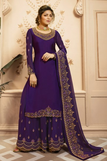 Drashti Dhami Georgette And Santoon Bottom Purple Georgette Satin Embroidery And Lace Work Plazzo Suit