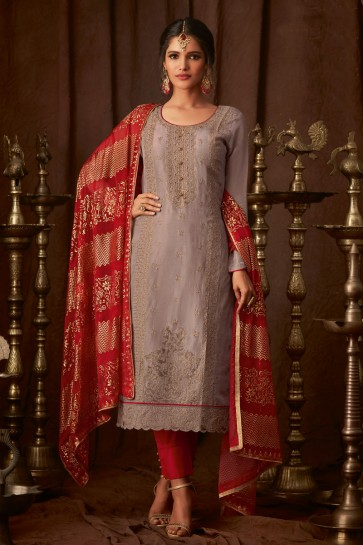 Fascinating Grey Embroidered Viscose Salwar Suit With Chiffon Dupatta