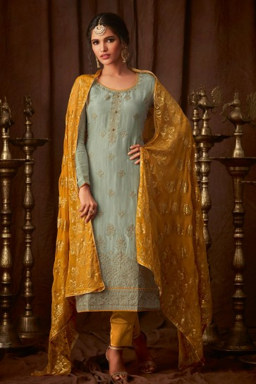 Charming Pista Embroidered Viscose Salwar Suit With Chiffon Dupatta
