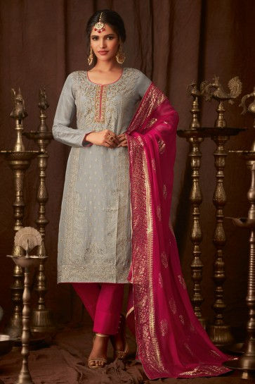 Delightful Grey Embroidered Viscose Salwar Kameez With Chiffon Dupatta