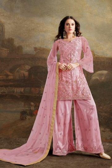 Lovely Wine Net Silk Fabric Embroidery And Beads Work Sharara Style Plazzo Suit And Dupatta