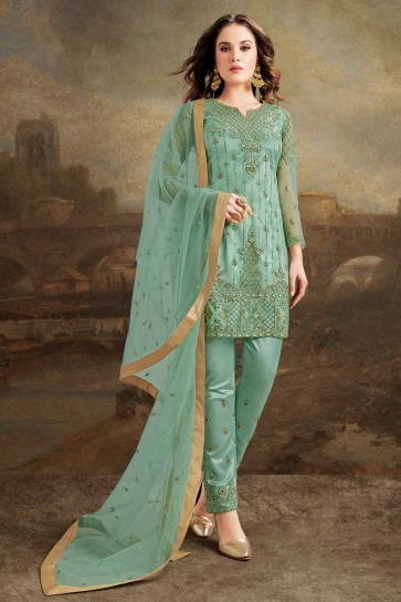 Net Silk Fabric Sea Green Embroidered And Lace Work Designer Salwar Kameez And Dupatta