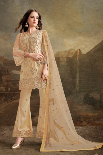 Beads Work And Lace Work Silk Fabric Cream Plazzo Suit With Net Dupatta