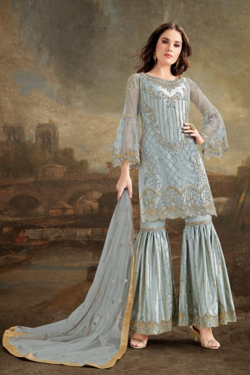 Cyan Embroidered And Beads Work Silk Net Fabric Sharara Style Plazzo Suit And Dupatta