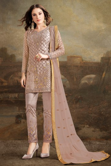 Lace Work And Embroidered Beige Net Silk Fabric Salwar Suit And Dupatta