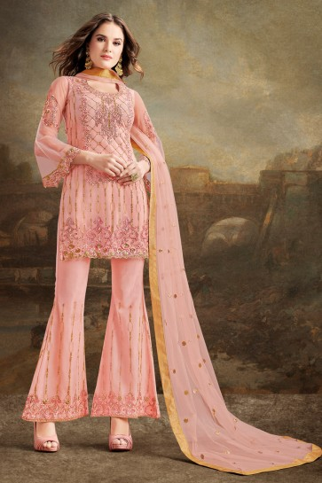Pink Embroidery And Beads Work Net Silk Fabric Sharara Style Plazzo Suit And Dupatta