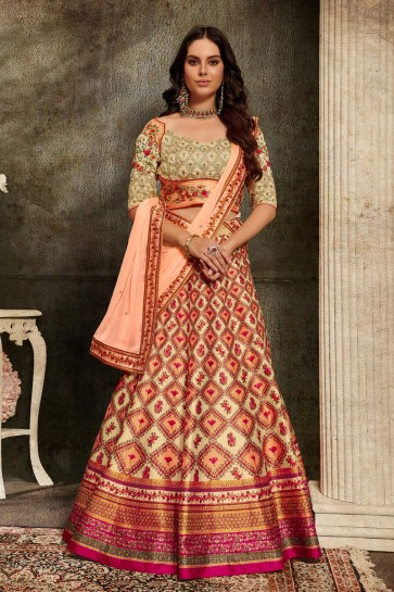 Excellent Silk Fabric Off White And Peach Embroidered Lehenga Choli And Dupatta