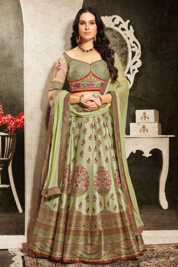 Marvelous Pista Silk Fabric  Embroidered Lehenga Choli And Dupatta