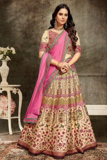 Graceful Cream Silk Fabric Embroidered Lehenga And Dupatta