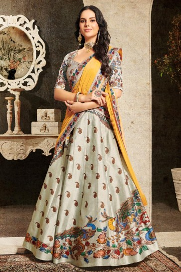 Silver Silk Fabric Embroidered Designer Lehenga Choli And Dupatta