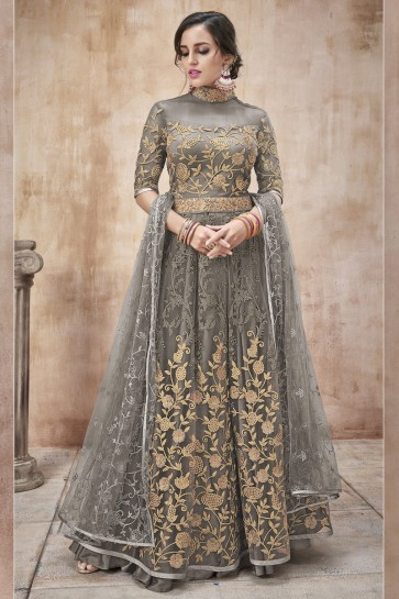 Lace Work And Beads Work Grey Net Fabric Abaya Style Anarkali Suit And Dupatta