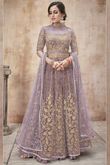 Lavender Net Fabric Embroidery And Lace Work Abaya Style Anarkali Suit And Dupatta