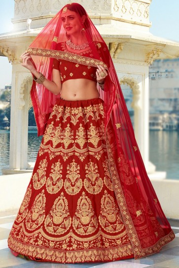 Velvet Fabric Red Embroidery And Lace Work Bridal Lehenga Choli With Net Dupatta