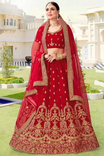 Embroidery And Beads Work Velvet Fabric Red Bridal Lehenga Choli With Net Dupatta