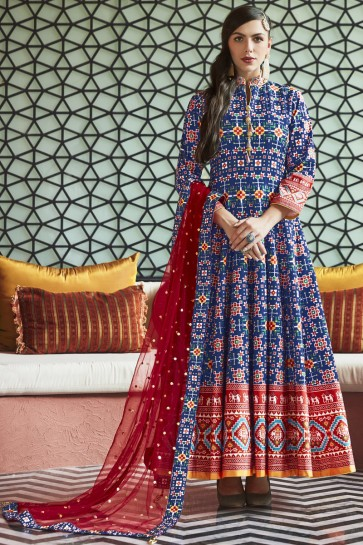 Hand Work And Lace Work Blue Silk Abaya Style Anarkali Suit And Cotton Crepe Bottom