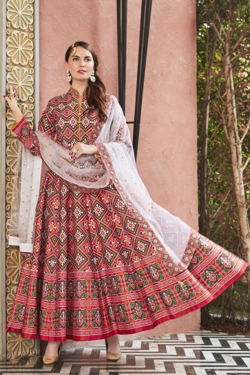 Lace Work And Printed Designer Peach Silk Fabric Abaya Style Anarkali Suit With Net Dupatta