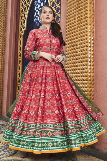 Cotton Crepe Bottom Lace And Hand Work Pink Silk Anarkali Suit With Net Dupatta