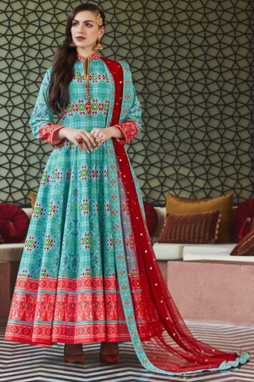 Turquoise Silk Fabric Lace Work And Printed Abaya Style Anarkali Suit And Cotton Crepe Bottom
