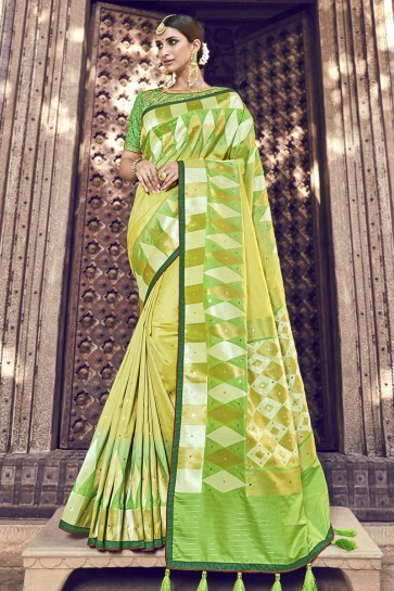 Beads Work And Lace Work Designer Light Green Banarasi Silk Fabric Saree And Blouse