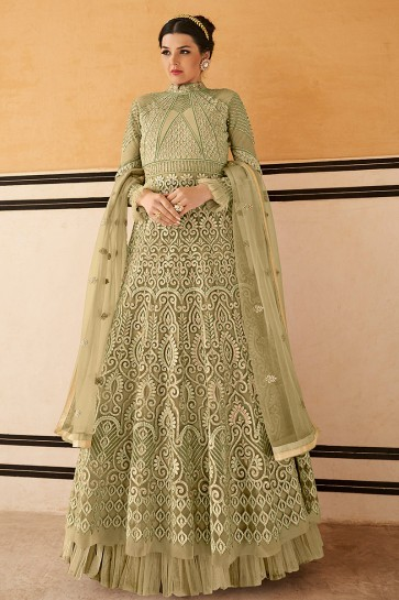 Fascinating Pista Embroidered Net Anarkali Suit With Chiffon Dupatta