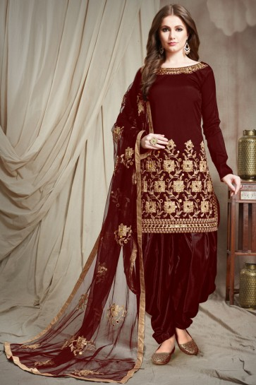 Delightful Maroon Embroidered Faux Georgette Salwar Kameez With Chiffon Dupatta