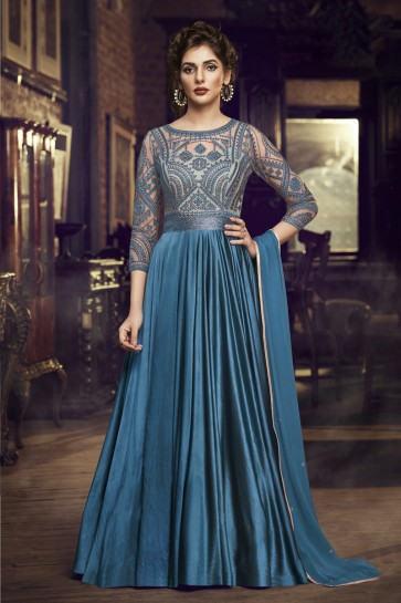Designer Blue Embroidered Satin Gown