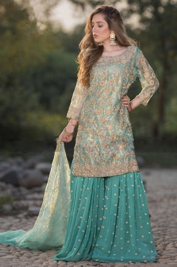 Sky Blue Net Embroidered Plazzo Suit With Dupatta