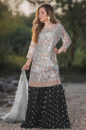 Designer Black Embroidered Net Plazzo Suit With Dupatta