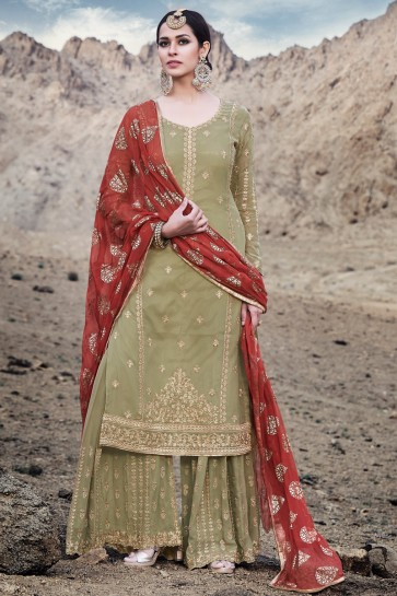 Pista Georgette Embroidered Plazzo Suit With Chiffon Dupatta
