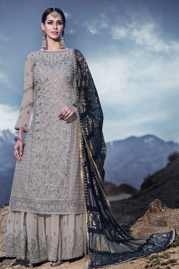 Classy Grey Embroidered Georgette Plazzo Suit With Chiffon Dupatta