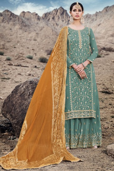 Solid Embroidered Sea Green Georgette Plazzo Suit With Chiffon Dupatta