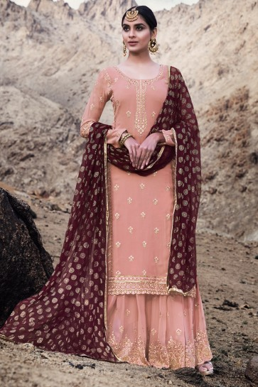 Admirable Georgette Peach Embroidered Plazzo Suit With Chiffon Dupatta