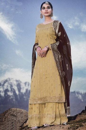 Party Wear Pista Embroidered Georgette Plazzo Suit With Chiffon Dupatta