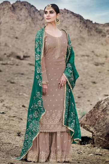Khaki Embroidered Georgette Plazzo Suit With Chiffon Dupatta