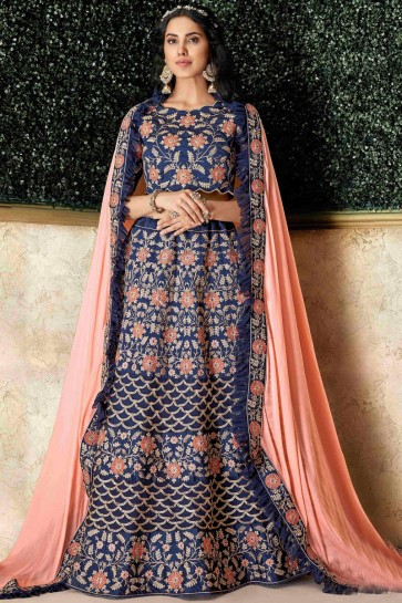 Excellent Blue Silk Stone Work And Embroidred Lehenga With Stone Work Blouse