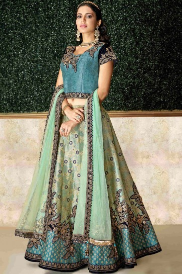 Stunning Green Stone Work And Embroidred Jacquard And Silk Lehenga Choli And Dupatta